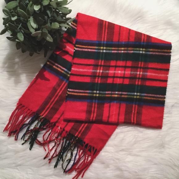 red plaid scarf fringed wrap christmas preppy - Christmas Plaid Scarf